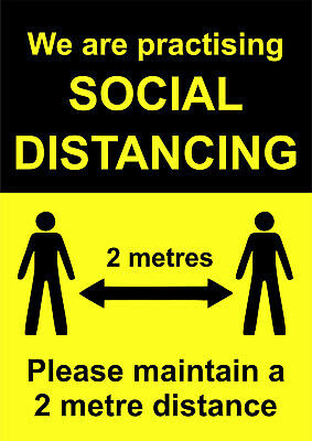 SOCIAL DISTANCING LAMINATED SIGNS in many sizes 2 metres distancing