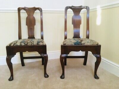 A  Pair of Early 18th Century Walnut Queen Anne Side Chairs Circa 1710