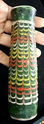 Antique Large Eastern Core-Formed Islamic Glass Vase perfume bottle Feather deco