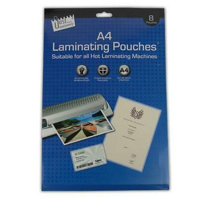 A4 Laminating Pouches - Clear Laminator Machine Sleeves 8 Sheets New Office Home