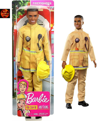 Barbie Ken Career Doll African Firefighter Doll with Helmet - New in box