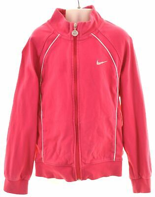 NIKE Girls Tracksuit Top Jacket 7-8 Years XL Pink Cotton  KN09