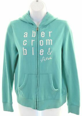 ABERCROMBIE & FITCH Girls Hoodie Sweater 15-16 Years Turquoise Cotton  KL14