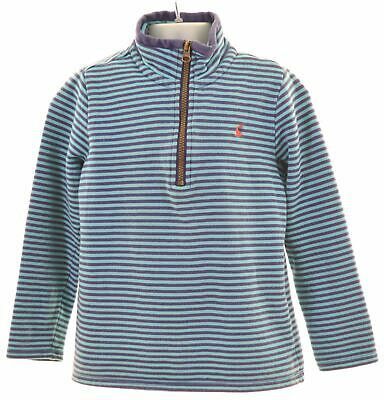 JOULES Girls Sweatshirt Jumper 7-8 Years Blue Striped Cotton  KN06