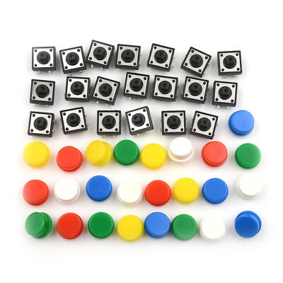 20Sets Momentary Tactile Push Button Touch Micro Switch4P PCB Caps 12x12x7.3m vv