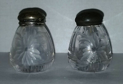Vintage Antique Etched Flower Salt and Pepper Shakers Minature