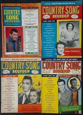 4 COUNTRY SONG ROUNDUP Music Magazines ~DON GIBSON,KITTY WELLS,ROY DRUSKY,GOLDIE