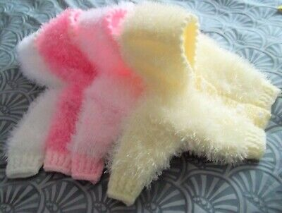 gorgeous hand knitted chunky fluffy jacket//hat set 0-3 month baby//reborn