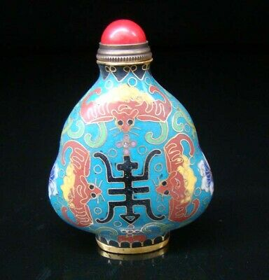 Collectibles 100% Handmade Painting Brass Cloisonne Enamel Snuff Bottles 078