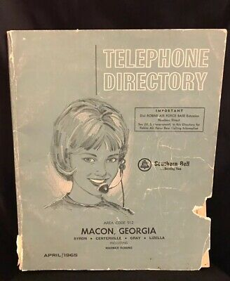 Vintage April 1965 Macon, GA Telephone Phone Book-Southern Bell Yellow Pages