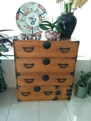 Japanese antique tansu chest-on-chest with hand forged handsome iron hardware.