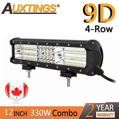 9D Quad Row 12''inch 330W Combo LED Work Light Bar Combo for Jeep Truck Boat CA