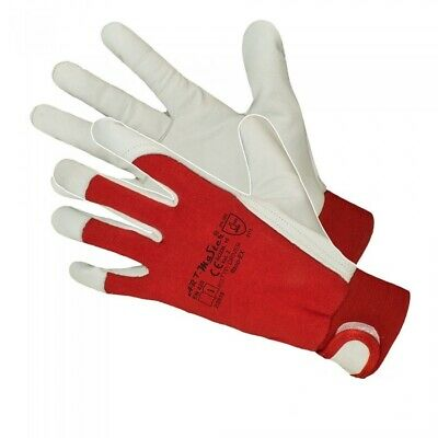 Heavy Duty Red Work Gloves High Quality Leather Goatskin Drivers Mechanic