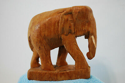 Hand Carved Wood Wooden Elephant Figurine