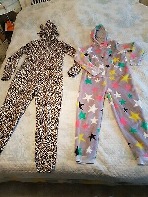 Girls M&S Star Fleece All-in-One & Leopard Print Size Small Bundle