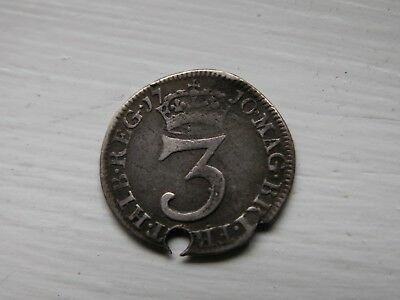 1710 Queen Anne 3 pence holed