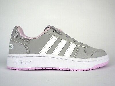 Junior Girls Adidas Hoops 2.0 F35845 Grey Pink Lace Up Basketball Trainers