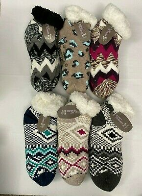 Slipper Socks With Gripper Sole Faux Fur Lined Ankle Height Owl Black Gray Pink