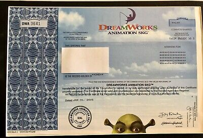 Dreamworks Animation Issued Stock Certificate 2005