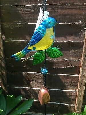 Robin Blue Tit Bird Hanging Bell Windchime Decoration Glass Sun Catcher Garden
