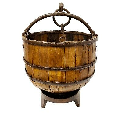 Antique Wooden Water Bucket w/ Stand & Handle Rustic Vintage Basket Home Decor