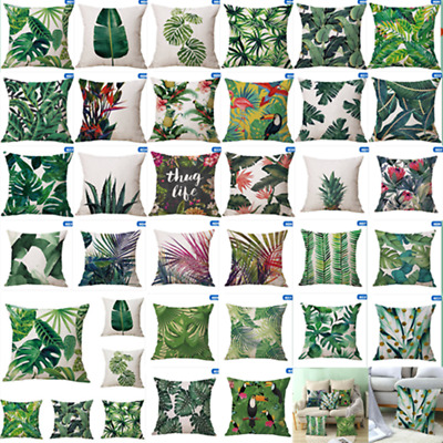 Tropical Plant Printed Cushion Cover Green Leaves Linen Throw Pillow Case Hot