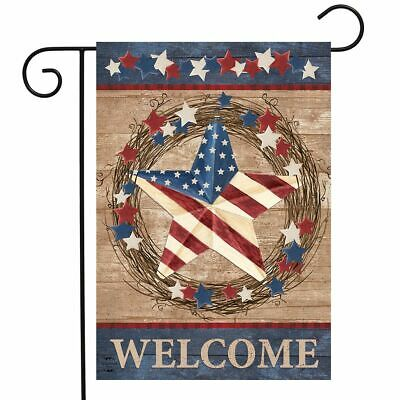 "Americana Barnstar Patriotic Garden Flag Welcome Primitive 12.5"" x 18"""