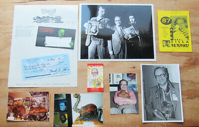 Lot Of Ten Forrest J Ackerman Items - Original Photos - Cards - Signed Check