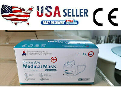 50 PCS 3 Ply Face Mask medical Dental Disposable Ear-loop Mouth Cover BFE ≥95%