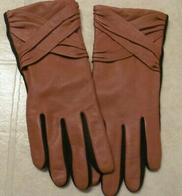 Wilson Leather Camel And Black Womens Gloves Size L/Xl