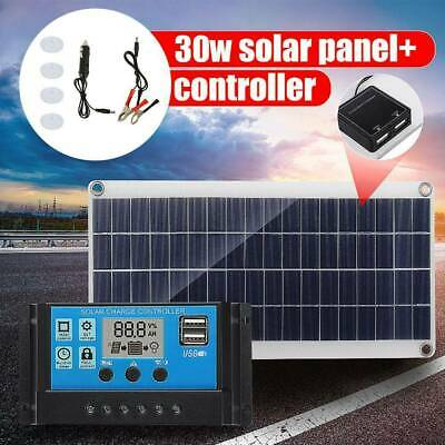 30W 12V Dual USB Solar Panel Flexible Battery Charger Kit Car + 40A Controller