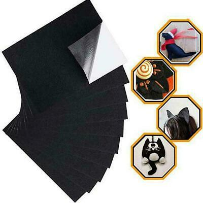 10 Pieces Self Adhesive Back Felt Sheets Fabric Sticky Craft Making Black M4J5