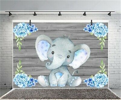 9x6Ft Backdrop Blue Baby Elephant Child Photo Photography Prop Background