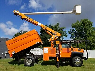 2008 GMC C7500 60' Chipper Dump Forestry Bucket Truck Boom Over Center GAS
