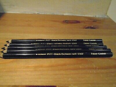 5 X Faber-Castell Pitt Black Schwarz Hard & Soft W Germany 2907 Artists Pencils