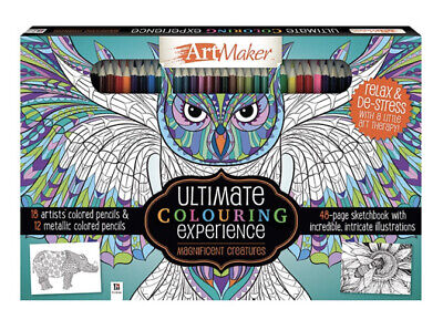 HINKLER BOOKS Adult's Colouring Book with Pencils New !!!