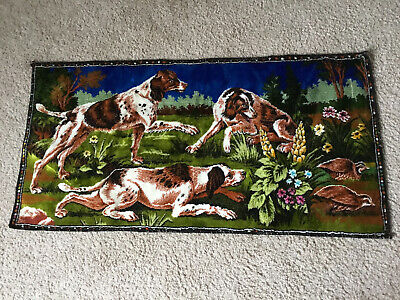 """Vintage Tapestry Of Hunting Dogs And Grouse. 40""""x19"""". Excellent Condition!"""