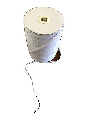 6mm White Elastic Flat - 1/4 Inch - Ideal For Face Masks - Sold Per Meter