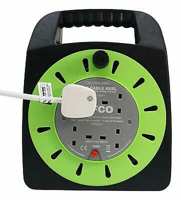 4 Way UK 3Pin Plug 13amp Extension Reel with 25 Metre Heavy-Duty Winding Cable
