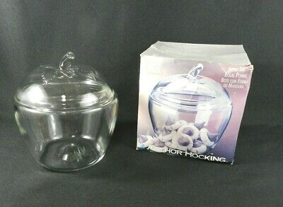 """NEW Vintage Anchor Hocking Apple Jar w-Lid Clear Glass Cookie Jar Canister 7.5"""""""