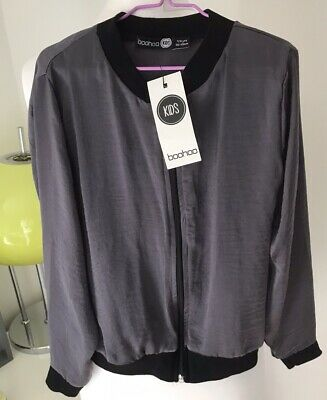 Boohoo Grey Lightweight Jacket Girls Age 7/8 NWTS
