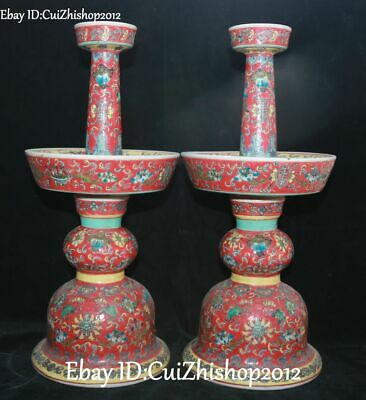 """15""""Enamel Painted Porcelain Dynasty Flower Candle Holder Candlestick Statue Pair"""