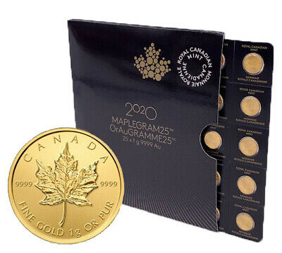 One (1) 2020 MapleGram .9999 Gold - 50 Cent Maple Leaf RCM Coin - In Assay
