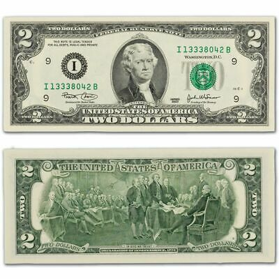 Ten (10) Two Dollar Bills Sequential Serial Numbers Uncirculated Condition