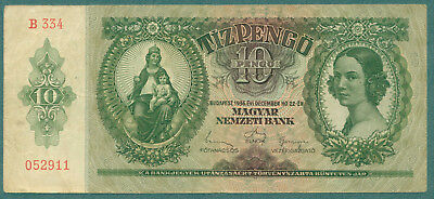 HUNGARY 1936   10 Pengo  ( B 334 )   World paper money currency banknotes.