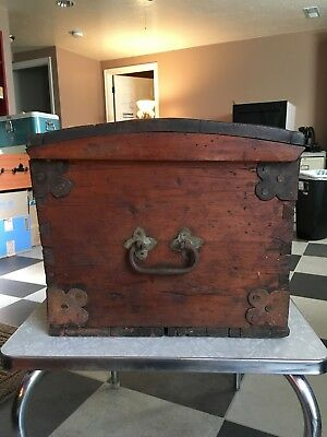 1860'S Primitive antique chest trunk- HAND FORGED- BEAUTIFUL