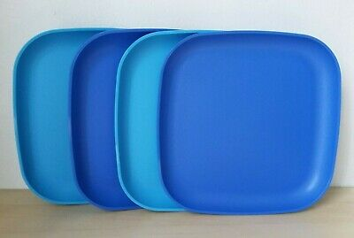 """Tupperware Vintage 4 Luncheon Picnic  Square Plates 8""""  New"""