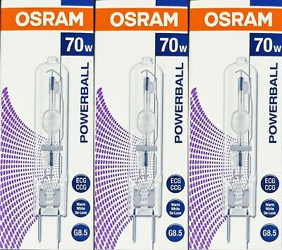 3 x Osram Powerball HCI-TC 70W/830 Warm White Metal Halide Lamps Globes G8.5