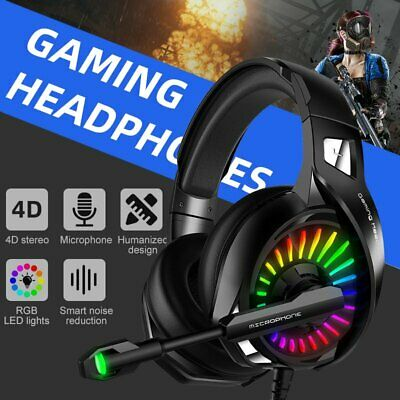 USB RGB LED Gaming Headset 4D Stereo Surround PC Computer Headphone Microphone