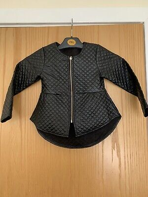 Girls Black Faux Leather Zipped Peplum Jacket 5 Years Good Condition